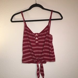 maroon striped tank with knot in front